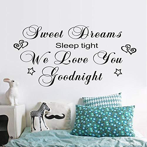 LQRRHY Zeichen Träume Liebe Gute Nacht Wandaufkleber Schlafzimmer Entfernbare Wandaufkleber Wohnkultur Schwarz 57 * 114 cm