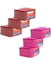 Amazon Brand - Solimo 6 Piece Cotton Mix Fabric Saree Cover Set with Transparent Window, Pink and Maroon