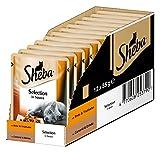 Sheba Adult Katzen-/Nassfutter, für erwachsene Katzen Selection in Sauce, mit Ente und Truthahn, 12 Portionsbeutel (12 x 85 g)
