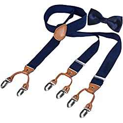 HBF 1 Conjunto Tirantes Y Pajaritas Unisex Elástica Ajustable Y-Forma 4 Clips/6clips Ancho 3.5 Cm Para Hombre Y Mujer (azul marino +pajarita azul)