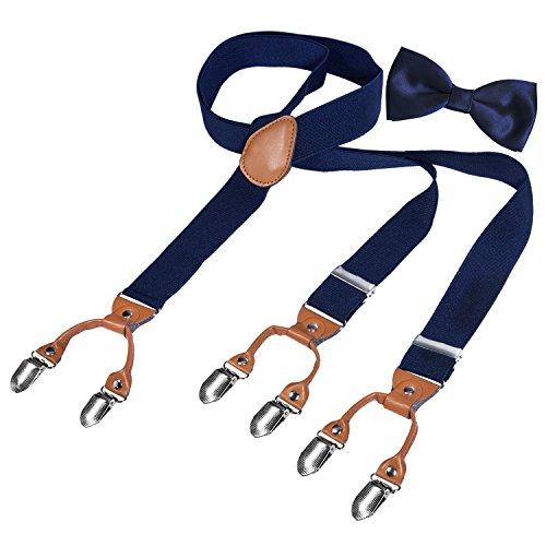 HBF Hosenträger mit den 6 starken Clips und Fliege KIT mehrfarbig elastisch Y-formoig Länge für Damen und Herren Playshoes in verschiedenen Designs (Dunkel blau + braun)
