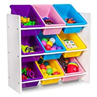 Fineway... CHILDRENS/KIDS 3 TIER TOY/BEDROOM STORAGE SHELF UNIT & 9 PLASTIC BOXES/DRAWERS