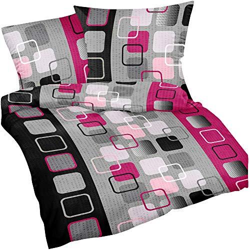 Heubergshop 2-teilige Seersucker Bettwäsche 135x200cm und 80x80cm - Pink Schwarz Design Kariert Modern - Bettgarnitur aus 100% Baumwolle, bügelfrei (396-1-S)