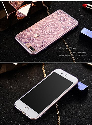 Bubblegum Fällen iphone Fall Luxus Kristall Diamant Muster TPU Soft Silikon Back Cover für alle iPhone Modelle, Kunststoff, rose, iPhone 7 7s violett