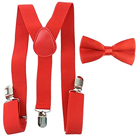unisex kids boys girls clip-on braces elastic adjustable suspender with bow tie combo sets for children