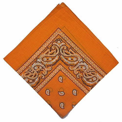 50% Ermäßigung - National Cotton Bandana Paisley Doppelseitige Leiter Verpackungs-Schal-Halstuch-Armband von Boolavard (Orange)