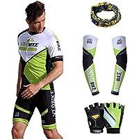Asvert Malliot de Ciclismo Hombre 3D Cojín Manga Corta Jersey + Pantalones Ropa de Bicicleta Verano Conjunto Ciclista Elástica Equipación Bicicleta Transpirable, Verde