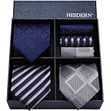 Hisdern Lotto 3 PCS Classico Elegante Seta da uomo Tie Set Cravatta    Pocket Square- f7f1149ecf6