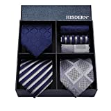 Hisdern Lotto 3 PCS Classico Elegante Seta da uomo Tie Set Cravatta & Pocket Square-Set multipli