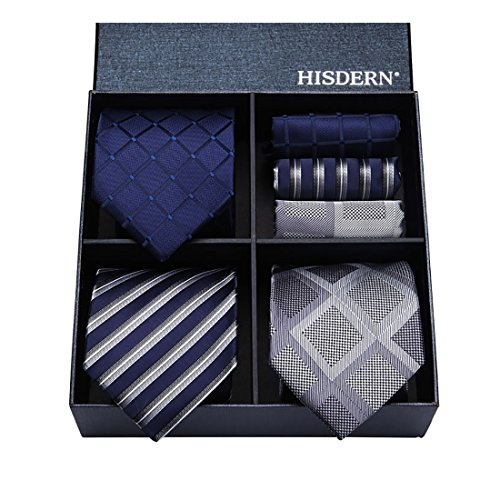 Hisdern Lotto 3 PCS Classico Elegante Seta da uomo Tie Set Cravatta & Pocket Square Set multipli