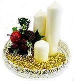 Concept4u Luxus Versilbert Dekoratives Tablett Hochzeit Tisch Mitte Stück Teelichthalter Teller Ständer Weihnachten Festliches Zuhause Party Dekoration 23cm - 2