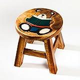 Robuster Kinderhocker/Kinderstuhl massiv aus Holz mit Tiermotiv Bär, 25 cm Sitzhöhe
