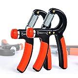 Cosy-ycy Lot de 2 hand grip de musculationavec poignée antidérapante et résistance réglable de 5-60 kg, noir/orange, Black orange
