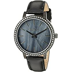 Roxy Women's RX/1009JMTI THE BELLS Swarovski Crystal Accented Black Leather Strap Watch
