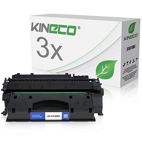 3 X Hp Laserjet (3 Kineco Toner kompatibel zu HP CF280X 80X Laserjet Pro 400 M401dn, M401dw, MFP M425dn, M425dw - Schwarz je 6.900 Seiten)