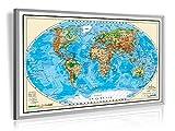 XXL/1,38 Meter - Pinnwand im Alurahmen: XXL - Weltkarte, 3D-Relief Optik, handgezeichnet für Markierungsfahnen & Pinn-Nadeln
