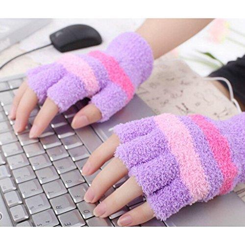 Mitaines sans doigts USB main gants chauffants bureau à domicile d'hiver plus chaud - Violet