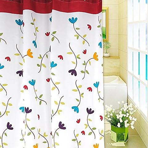 Togather® Flor de la manera moho impermeable de poliéster resistente a antibacteriana cortina de ducha de baño Cortina de División Para Baño adorno (71