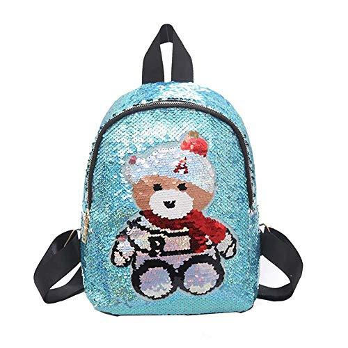 KTENME Pailletten Tasche Bär Rucksack Cartoon Rucksack Kinder Schulranzen Kindergarten Schultasche Tierform Rucksack für Strand Reisen Bergsteigen Schule, blau (Schwarz) - ZNK7QMXKKQ -