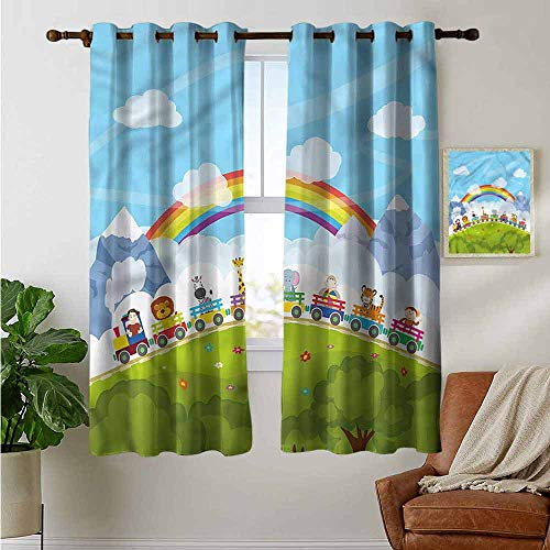 petpany Verdunkelungsvorhänge, für Kinderzimmer, Tiere, Winterkleidung, für Schlafzimmer, Kinderzimmer, Wohnzimmer, Polyester, Color14, 42'x45'(W106cmxL114cm)