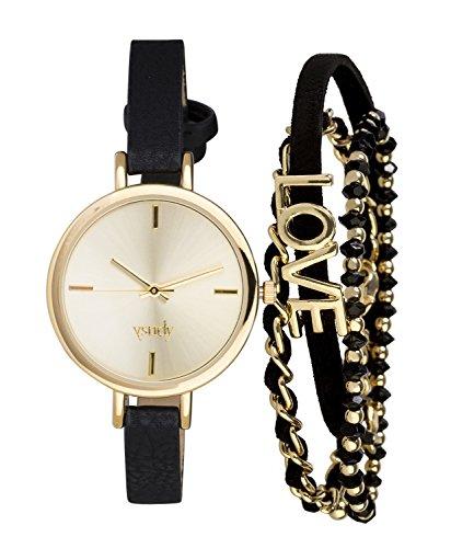 SIX Schmuckset für Damen: Damenuhr im Set mit 3 Armbändern in schöner Verpackung, Kunstleder mit goldenen Metallic Details, minimalistisches (19-996)