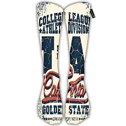 Randell Unisex Classic Knee High Over Calf American Football Logo 3D Print Athletic Soccer Tube Cool Fun Party Cosplay Socks -