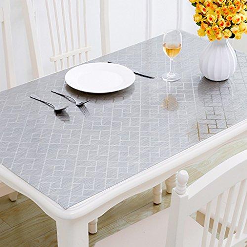 Nappes Plastique PVC Plaque De Cristal Matériel Table Tissu Étanche En Verre Souple Lisse Facile De Stockage Argent 1.0mm Épais (taille : 100×100cm)