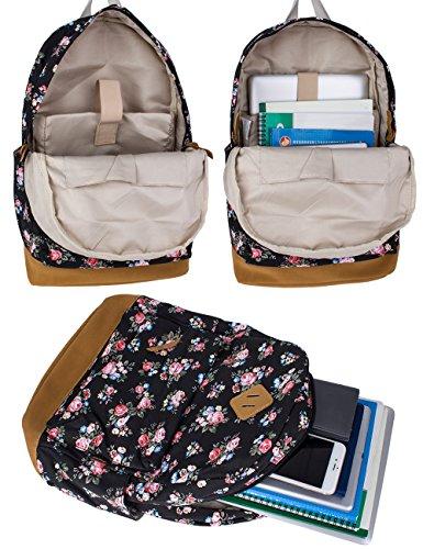 Leaper Blumen Rucksack Retro Rucksack für Outdoor Camping Picknick Außflug Sports Uni Rucksack Schultasche (Flora Schwarz) - 3