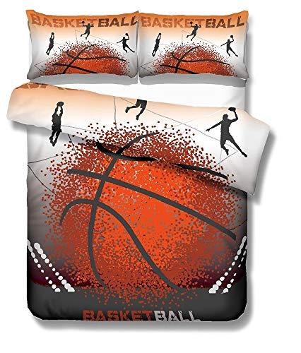 NYLIN Fundas Nórdicas Baloncesto Deportes Colcha Estampada Clavada Baloncesto 3D Juego De Ropa De Cama 90/135/150/180 para Niños Niño Niña Adulto,Funda De Edredón Nórdico+Fundas De Almohada+Sábanas