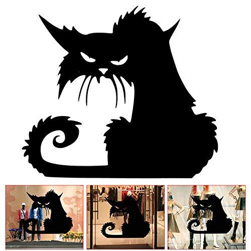 Symbol Wandtattoo Schwarz Katze PVC Wasserdicht Langlebig Dekoration für Halloween Fenster, Small