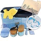 Kinder Pferde Putzbox Schutzengel blau (gefüllt) mit Namensgravur
