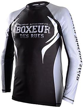 Boxeur Des Rues Fight Activewear Camiseta de MMA, Hombre, manga larga, Hombre, Fight Activewear, plateado, XL