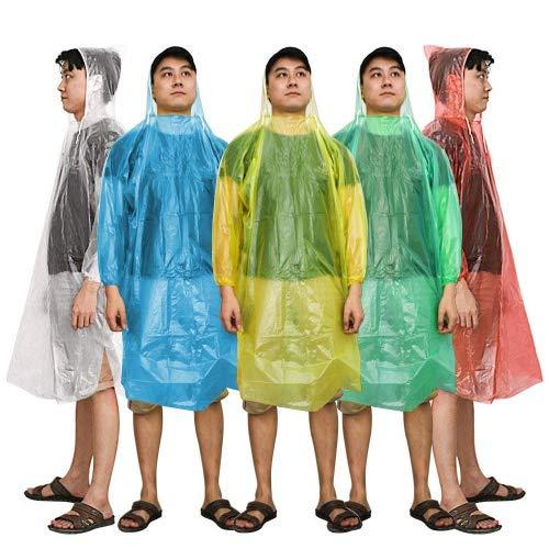 tfall Einweg Regen Poncho (5 Pack) sortiert Unisex-Erwachsene Notfall wiederverwendbar Regen Wasserdicht Poncho mit Kapuze - Perfekt für Festivals, Camping and Design Parks ()