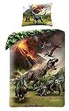 Halantex Set Letto Originale Jurassic World Dinosauro T-Rex - Copripiumino 140x200cm + Federa 100% Cotone