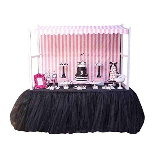 Ketamyy Flaumig Tutu Gaze Tisch Röcke Hochzeit Festival Geburtstag Banquet Party Dekoration Tutu Tischrock Mit Klettverschluss Schwarz 91.5cm*80cm (Tisch Schwarz Rock)