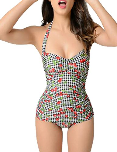 Blooming Jelly Women Ruched Tummy Control Swimsuit Vintage Fruity Suity Print Retro One Piece Swimming Costume for Ladies