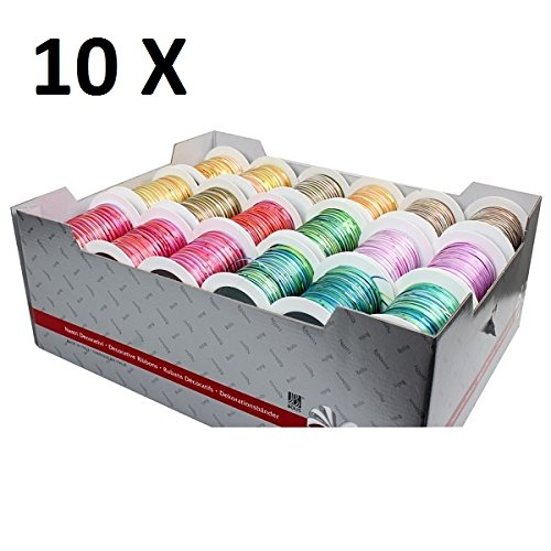 Preisvergleich Produktbild 10 Rollen Geschenkband Bunt auf Spule, Deko-Band, 2mm x 10m