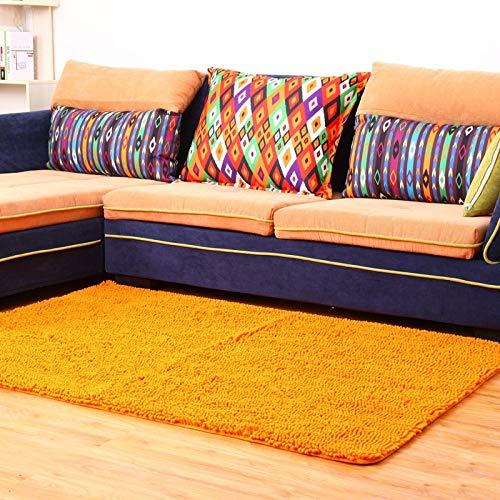 KOOCO Einfarbig Chenille Teppich Für Wohnzimmer Rutschfeste Verdickung Teppich Streifen Fußmatte Boden Teppich Küche Teppich Badematte, Kurkuma, 70X140 cm - Chenille Streifen-teppich