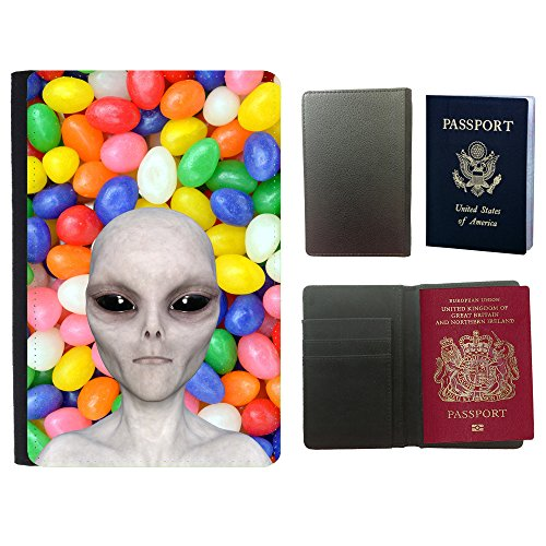 Grand Phone Cases Cubierta del Pasaporte de impresión de Rayas // Q05510666 Alienígena Caramelo afrutado // Universal Passport Leather Cover