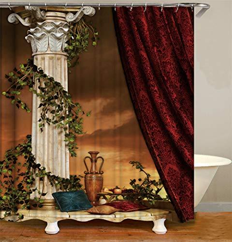 ZZZdz Rote Vorhänge. Gelbe Säulen. Grüne Blätter. Apfeltrauben. Kissen. Vase. Duschvorhang. Wasserdicht. Einfach Zu Säubern. 180X180Cm. (Rot Und Vase Gelb)