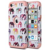 iPod 5 case, ULAK iPod Touch 6 Case Hybrid 3 Layer Silicone Shockproof Hard Case Cover for Apple iPod Touch 5th/6th Generation (Pink Elephant Patterned)