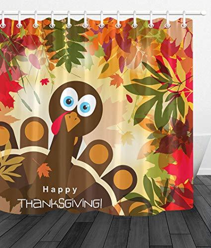 JHTRSJYTJ Herbst Tiere Happy Thanksgiving Türkei Futter wasserdicht Duschvorhang Polyester-Material Maschine waschbar Badezimmer unerlässlich (Türkei Hat Thanksgiving-die)