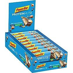 PowerBar Protein Nut2 barres protéinées faible en sucre Goût Chocolat au Lait et Noisettes 18 x 45g