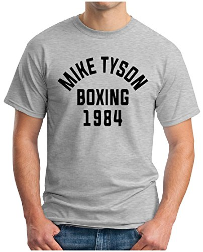 OM3 - MIKE TYSON 1984 - T-Shirt BOXING Heavyweight CHAMPION KO FIGHT PEACE DOPE NYC GEEK, S - 5XL Grau Meliert