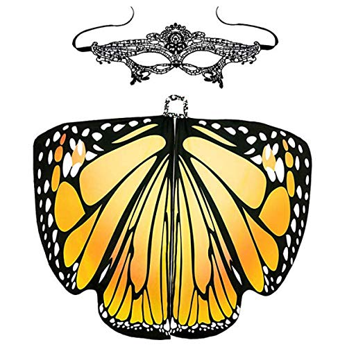 Basketball Kostüm Maske - B-commerce Frauen Butterfly Wings Shawl - Fee Damenumhang mit Maske Kostümzubehör Lightweight Cape (Yellow, 168x 135 cm)