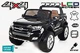 RIRICAR Ford Ranger Wildtrak 4X4 LCD Luxury, Elektro Kinderfahrzeug, LCD-Bildschirm, lackiert schwarz - 2.4Ghz, 2 x 12V, 4 X Motor, Fernbedienung, 2-Sitze in Leder, Soft Eva Räder, Bluetooth