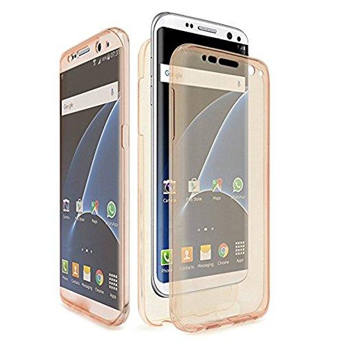Für Samsung Galaxy S8 Plus Schutzhülle,JShisxnuid 360°Grad Silikon Transparent Hülle Handy Etui Dual Layer Front Back Stoßfest Shockproof Tasche Handyhülle für Samsung Galaxy S8 Plus 6.2 Zoll (Gold) Dual-front-tasche