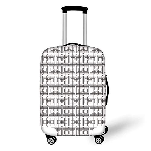 Travel Luggage Cover Suitcase Protector,Geometric,Grid Pattern with Squares Rectangles Abstract Design Vintage Monochrome Image,Umber White,for Travels 19x27.5Inch -