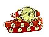Damen-Uhren Wickelarmband-Uhr rot mit Edelsteinen und Nieten ROT-BRAUN