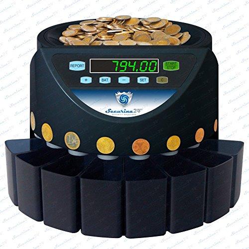 Contador de monedas automàtico clasificador monedas SR-1200 Securina24® (negro - Bluelabel - SBB)